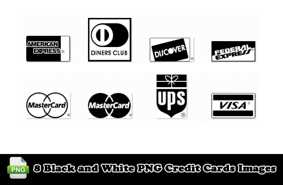 8 Black and White PNG Credit Cards Images