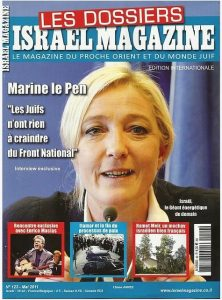 "Marine le Pen tells the Israeli media that the National Front is like a ""shield"" protecting French Jews"
