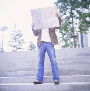 Man studying street map