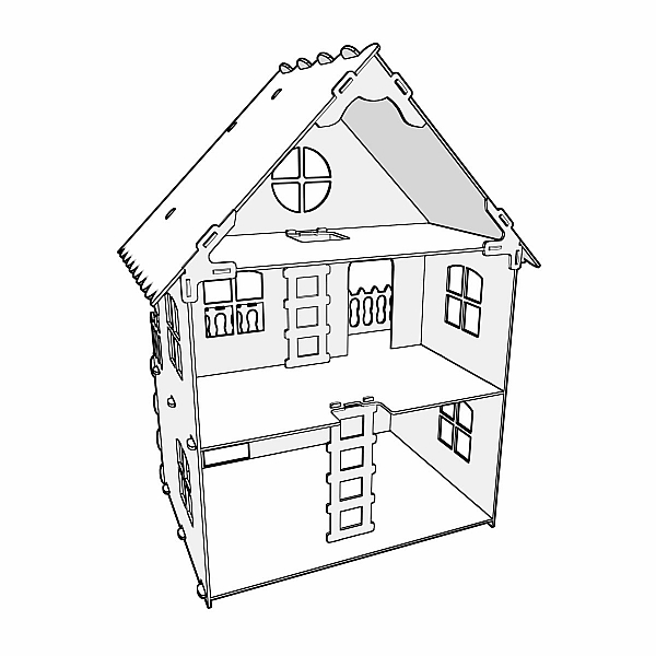 Natural 1:12 scale dollhouse plans. Dolls 4-7 inch (12-16