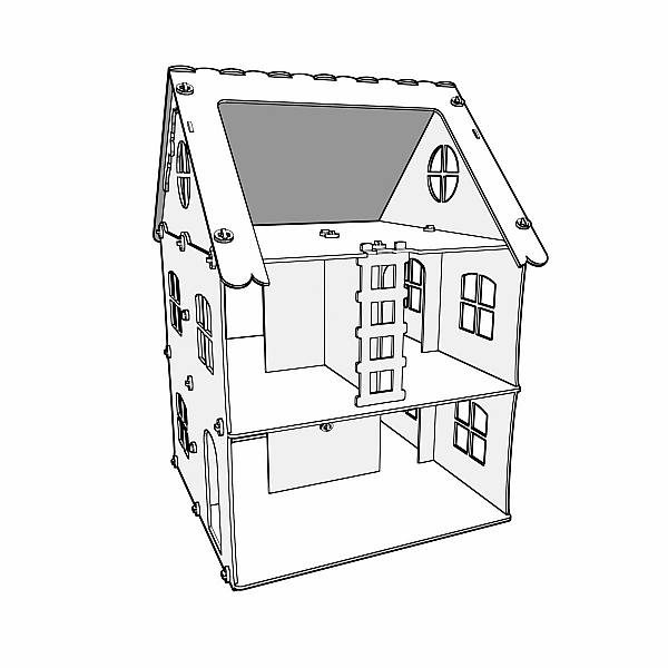 Great wooden dollhouse model (1:12 scale). Dolls 4-7 inch