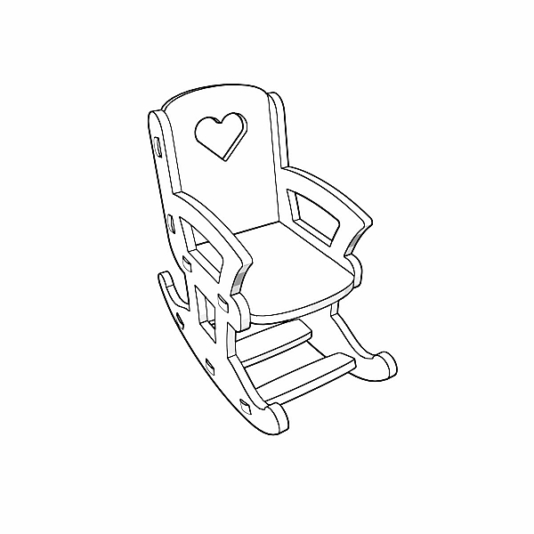 Doll rocking chair pattern for CNC laser and router