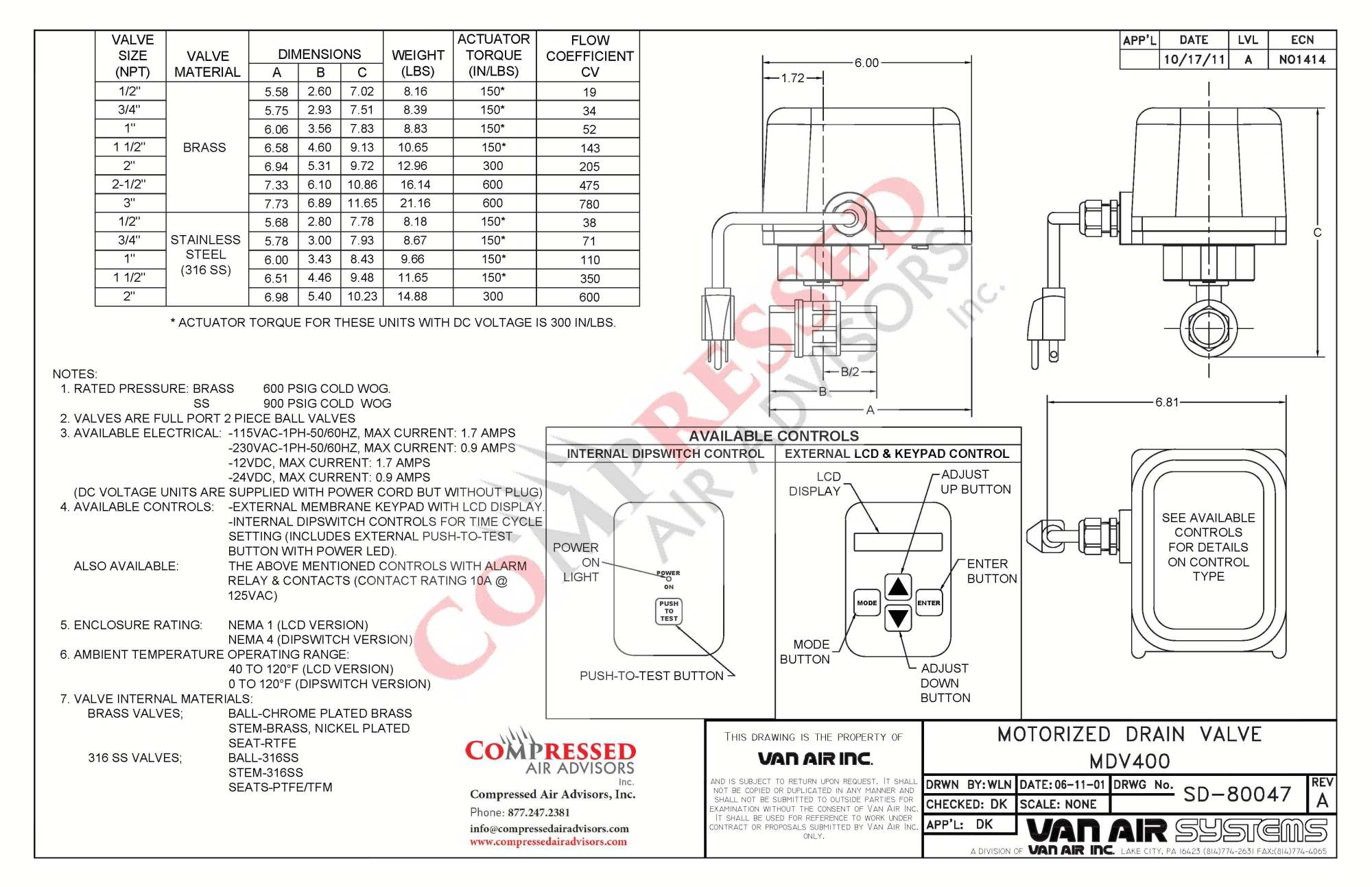 hight resolution of click here for van air mdv400 drain valve dimensions instruction manual