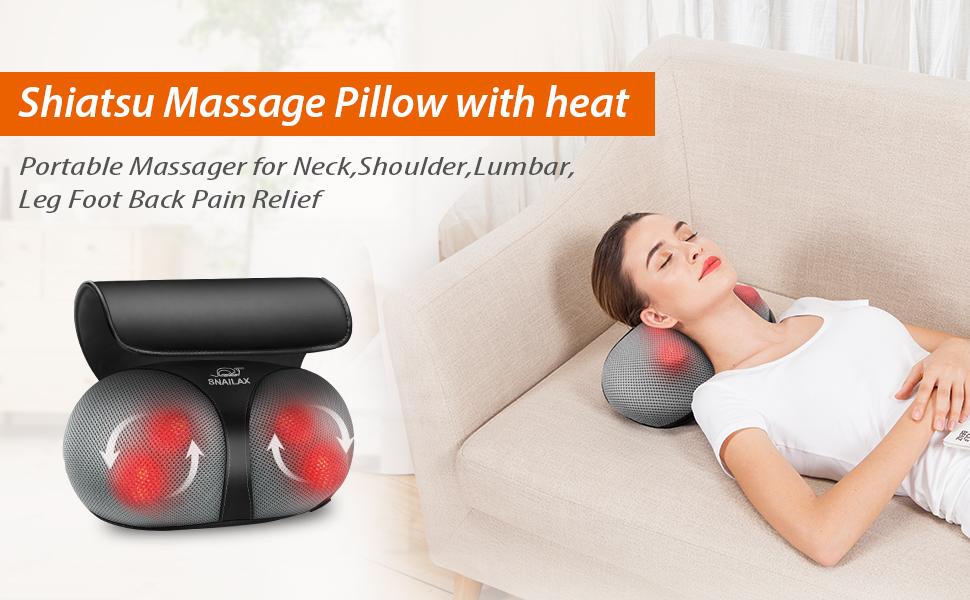 shiatsu kneading massage pillow with heat 618n