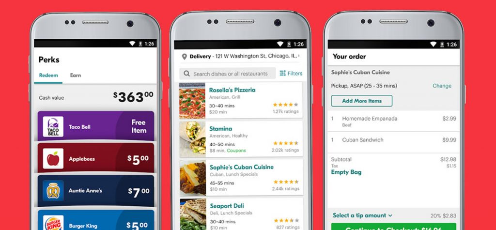features of online food delivery mobile applications like Grubhub, Seamless