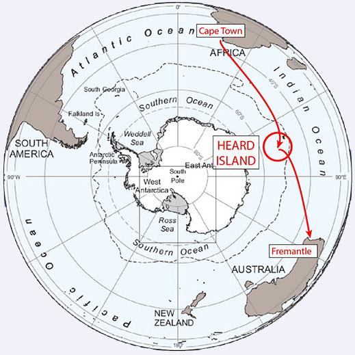 VK0EK Ilha Heard DX pedition viagem Mapa