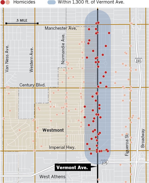 Watts Gang Map : watts, South, Vermont, Avenue:, County's, 'death, Alley', Homicide, Report, Angeles, Times