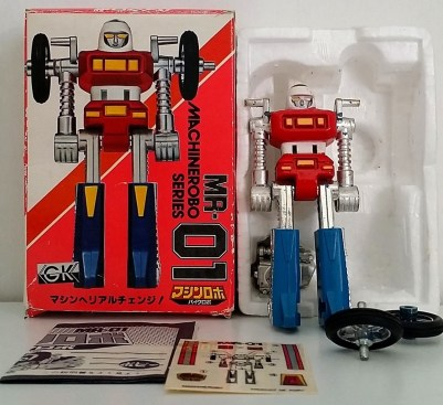 Machine Robo(マシンロボ) MachineRobo MR-01 Cy-Kill 1982 Popy/Bandai Japan Bike Robo Machines Gobots Machine Men - box and styrofoam - from anime Machine Robo Revenge of Cronos 1988-1989 and Challenge of the Gobots 1983-1987