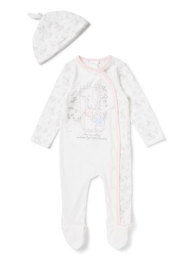 Baby White Peter Rabbit Sleepsuit and Tie-Top Hat Set