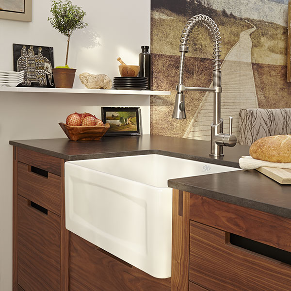 kitchen farm sink swivel chairs hillside 24 inch wide apron from dxv