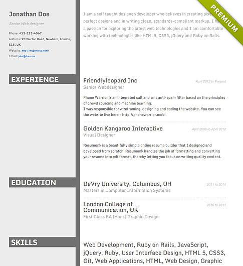 resume maker professional templates
