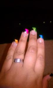 acrylic nails rainbow french tip