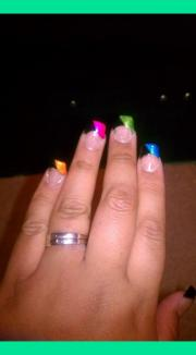 acrylic nails rainbow french tip