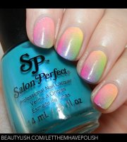 neon pop rainbow ombre nails