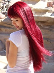 long red wine hair with bangs