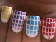 checkered gradient nail polish
