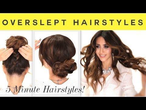 3 EASY OverSlept HAIRSTYLES  SCHOOL Braid  Curls  Messy Bun Hairstyle  MakeupWearables