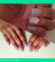 cute blinged lavender nails