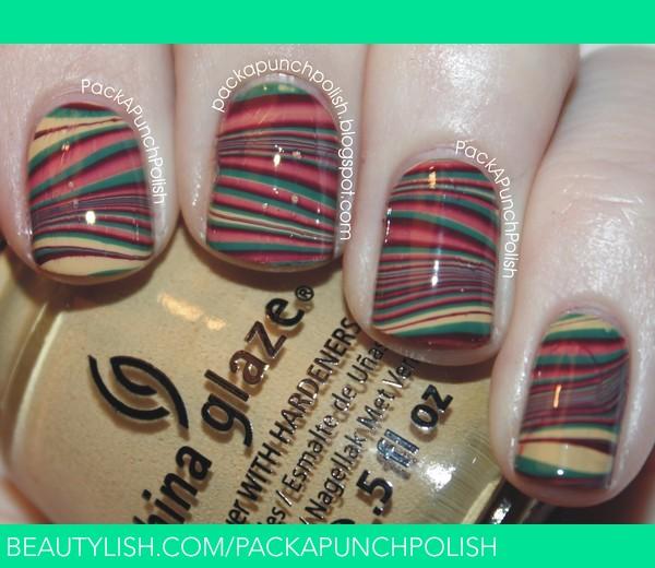 Fall Water Marble Nails  Samantha Ss packapunchpolish