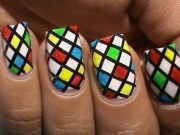 color blocking nail polish design