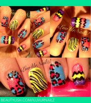 crazy nail design zigzags leopard
