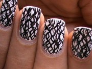 black and white nail art design-waves