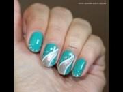 aqua & silver elegant nail design