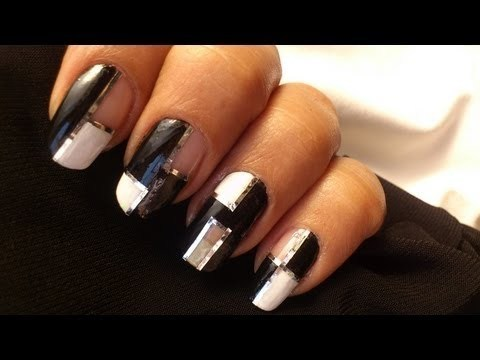 Mod Squares Nails Art Nail Polish Designs DIY Black And