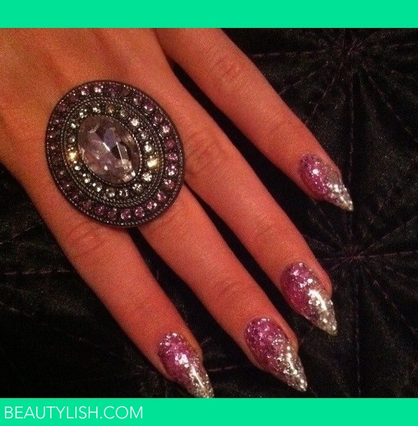 Pink and white glitter gel nails  Kirsty Hs Photo