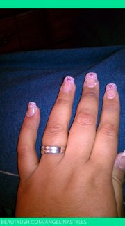 acrylic pink french tip angelina