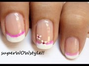 pink flower - cute french tip nail