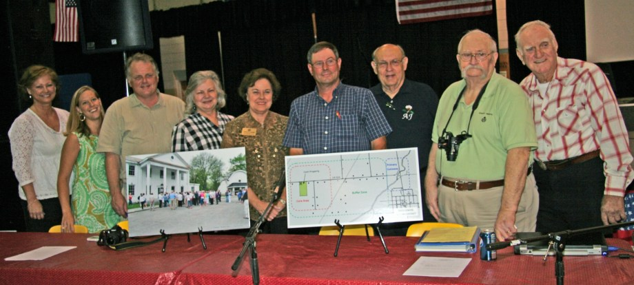 Key participants in town meeting to present Dyess Master Plan included Paula Miles, Arkansas State University; Beth Wiedower, National Trust for Historic Preservation; State Sen. Steve Bryles;  Dr. Ruth Hawkins, Arkansas State University; State Rep. Charolette Wagner; Dyess Mayor Larry Sims; A. J. Henson; Everett Henson; and J. E. Huff