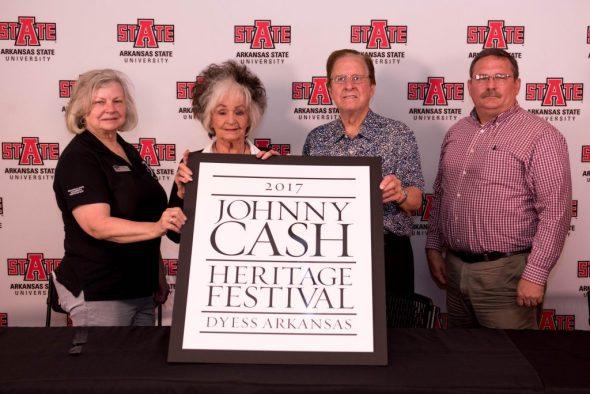(From left) Dr. Ruth Hawkins, director of Arkansas State University Heritage Sites program; Joanne Cash Yates, Johnny Cash's sister; Tommy Cash, Johnny Cash's brother and Dyess mayor Ken Gilmore.