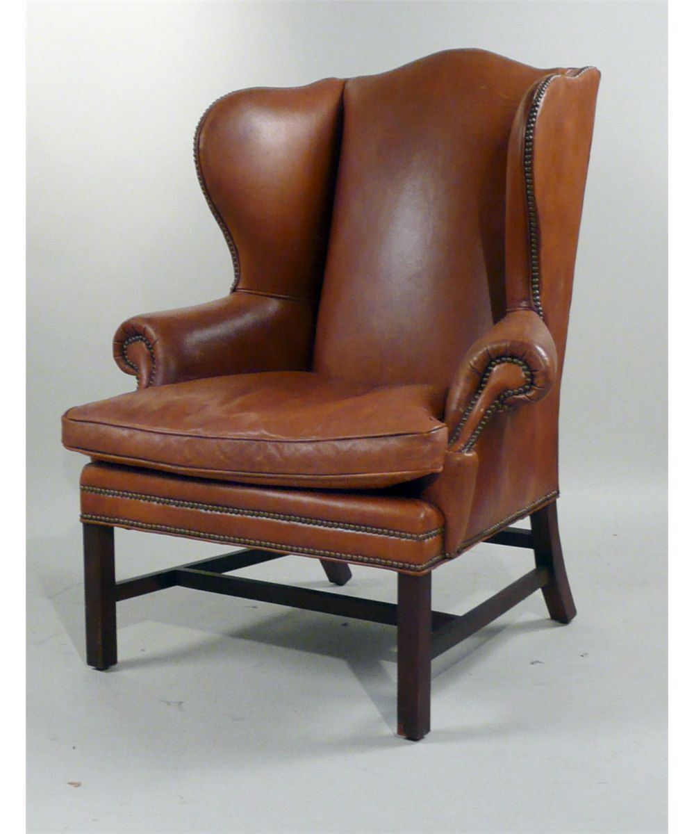 Henredon Chair George Iii Style Henredon Leather Upholstered Wing Chair 20th C