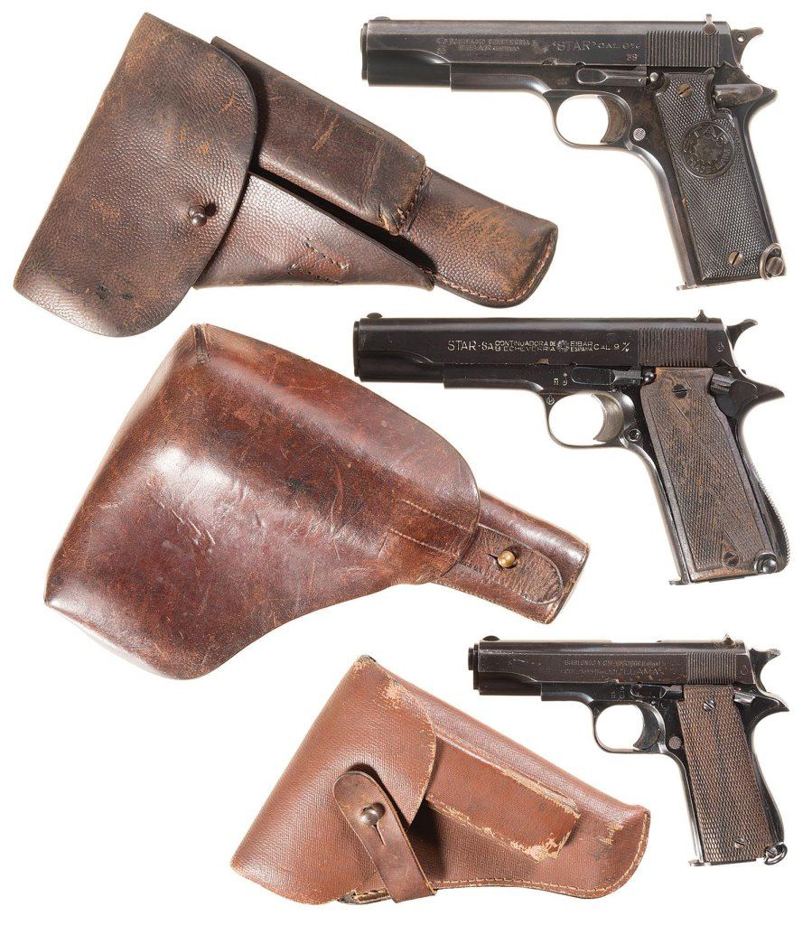 medium resolution of image 1 three star semi automatic pistols with holsters a star model