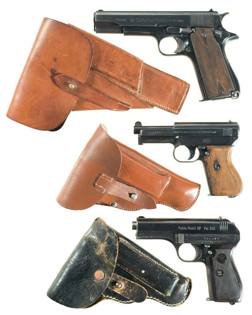 image 1 three nazi proofed european semi automatic pistols with holsters a  [ 817 x 1024 Pixel ]