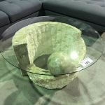 Glass Top With Faux Stone Base Coffee Table Tiny Chip To Glass Top