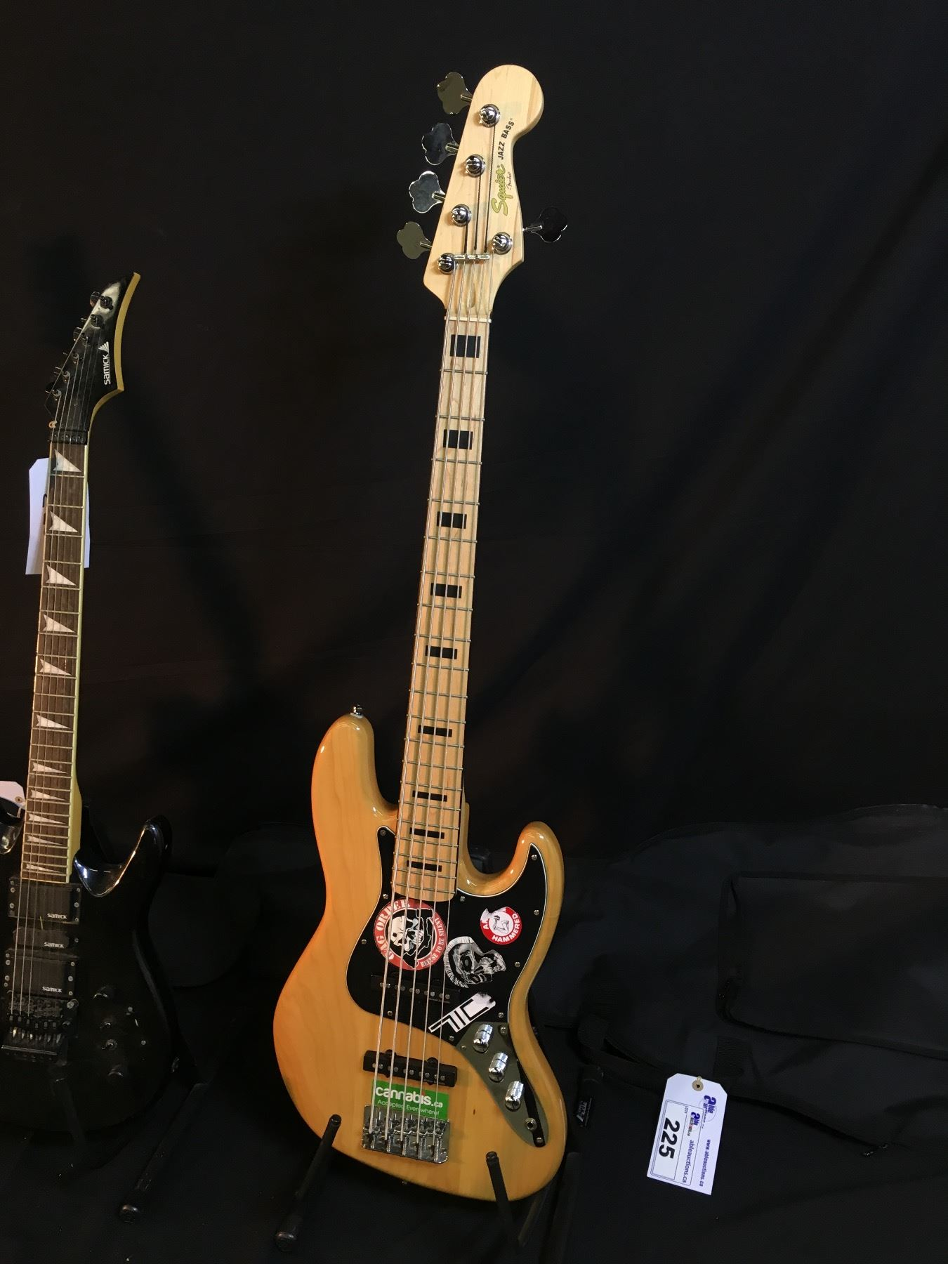 small resolution of  image 2 3 guitars squier 5 string jazz bass with soft shell case