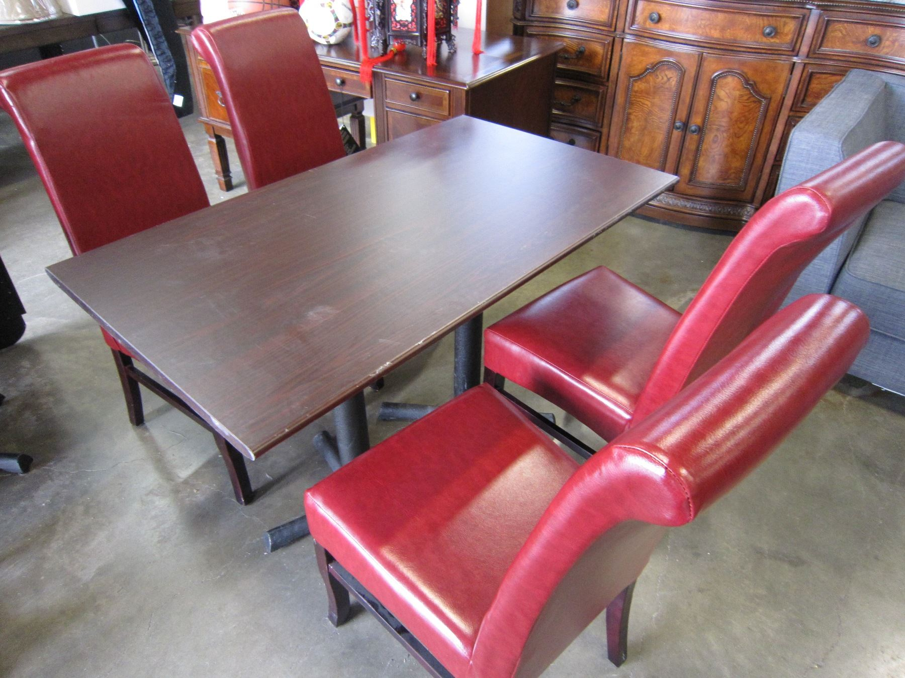 Red Leather Dining Room Chairs Restauarant Table With Cast Iron Base And 4 Red Leather Dining Chairs