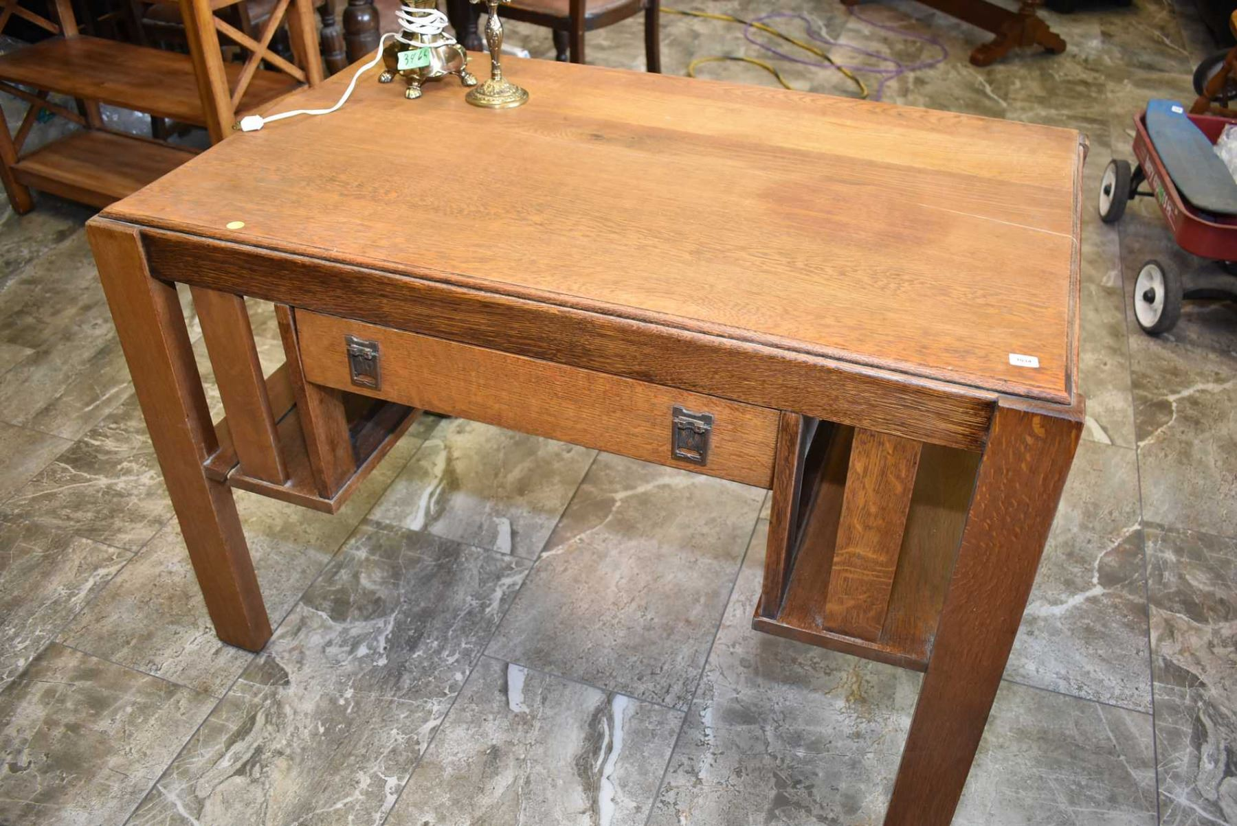 Antique Mission Style Single Drawer Oak Desk With Book Storage One End Needs Some Tlc
