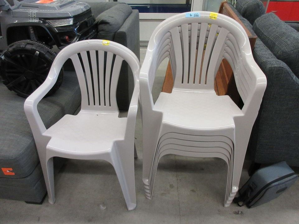 6 stacking plastic patio chairs store