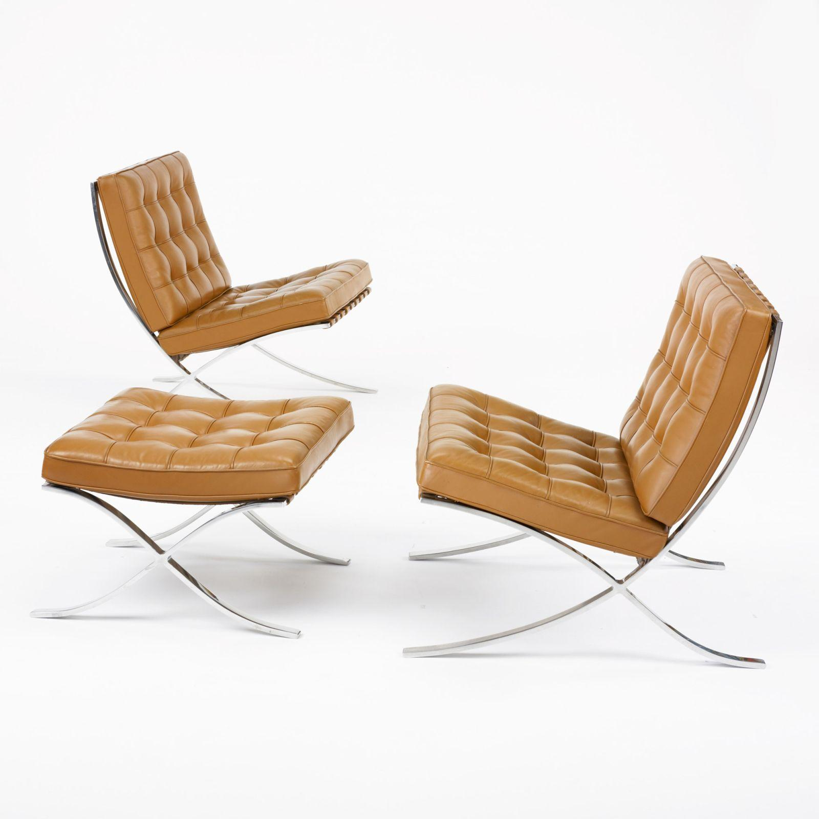 Barcelona Chairs For Sale Ludwig Mies Van Der Rohe Pair Of Barcelona Chairs With Ottoman