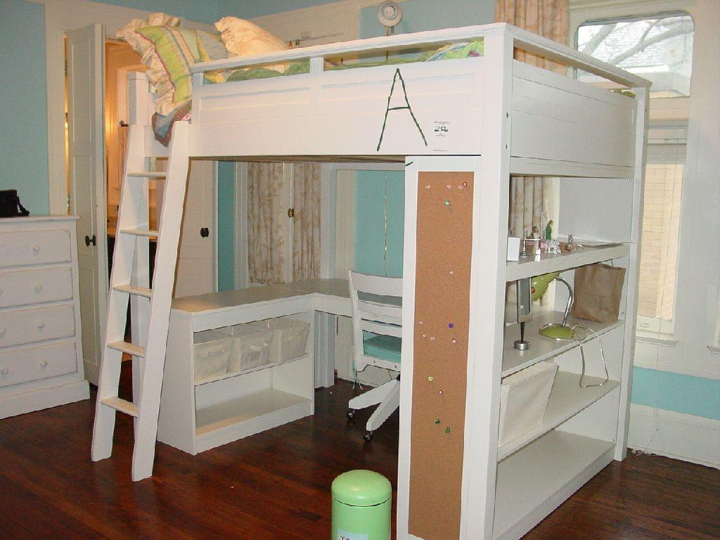 pottery barn sleep study loft bed white wooden loft bed with computer desk and shelving below w mat