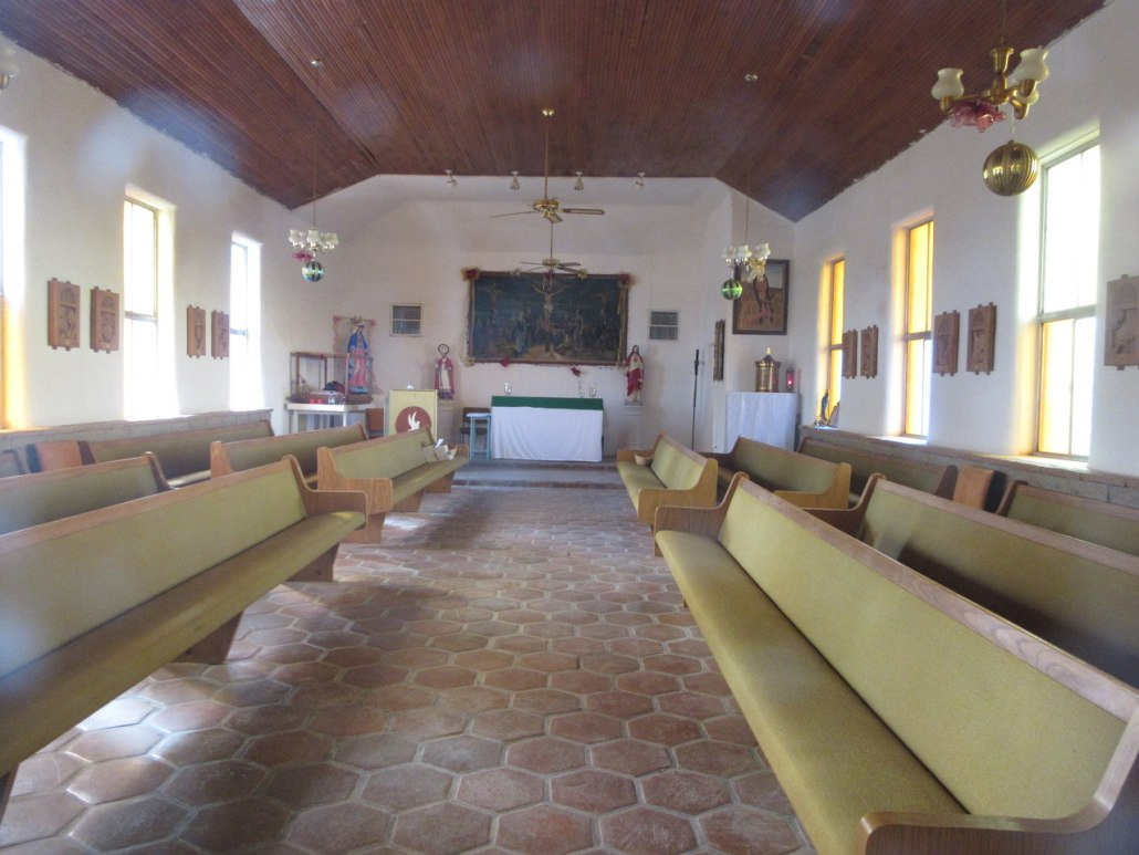 Inside of Tohono O'odham village church St Augustine near Chuichu West Cemetery Casa Grade AZ