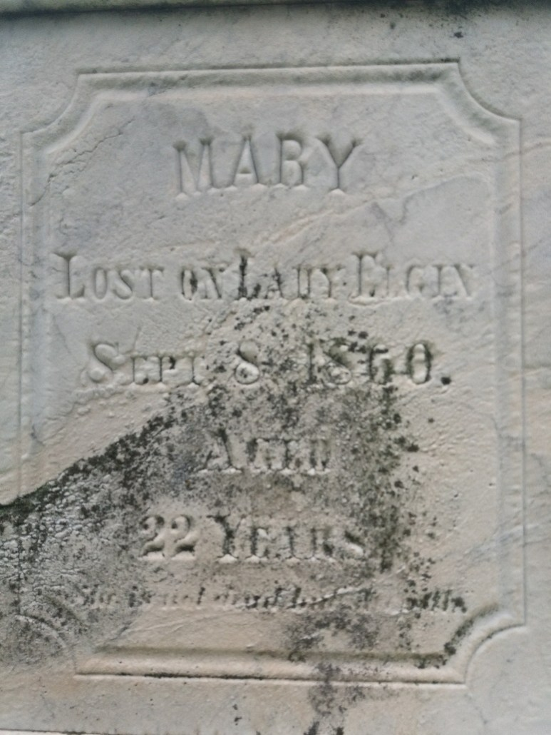 Gravemarker for Mary, lost on the Lady Elgin in 1860 - Calvary Cemetery Milwaukee