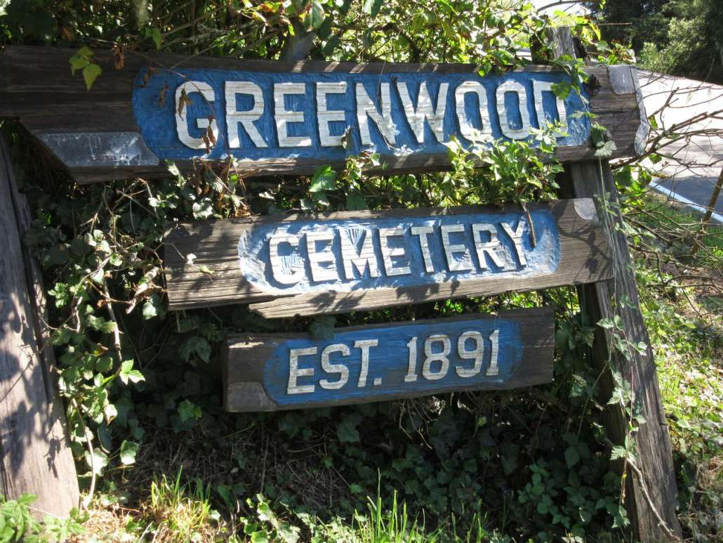 Entrance sign at Greenwood Cemetery, Astoria, OR