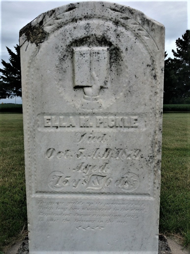 Ella Pickle tombstone at Golden Gate Cemetery, Sleepy Eye, MN