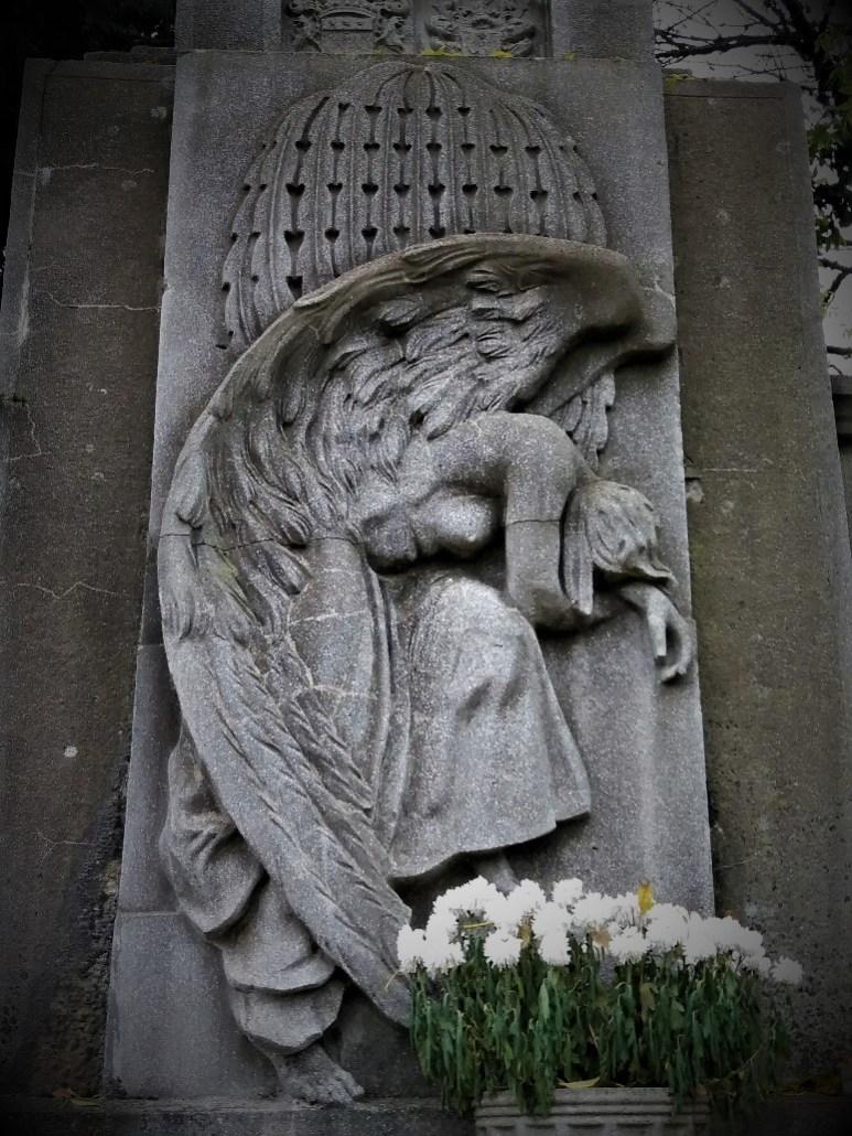 Weeping angel on Szilagyi family tomb Sümeg Cemetery Hungary