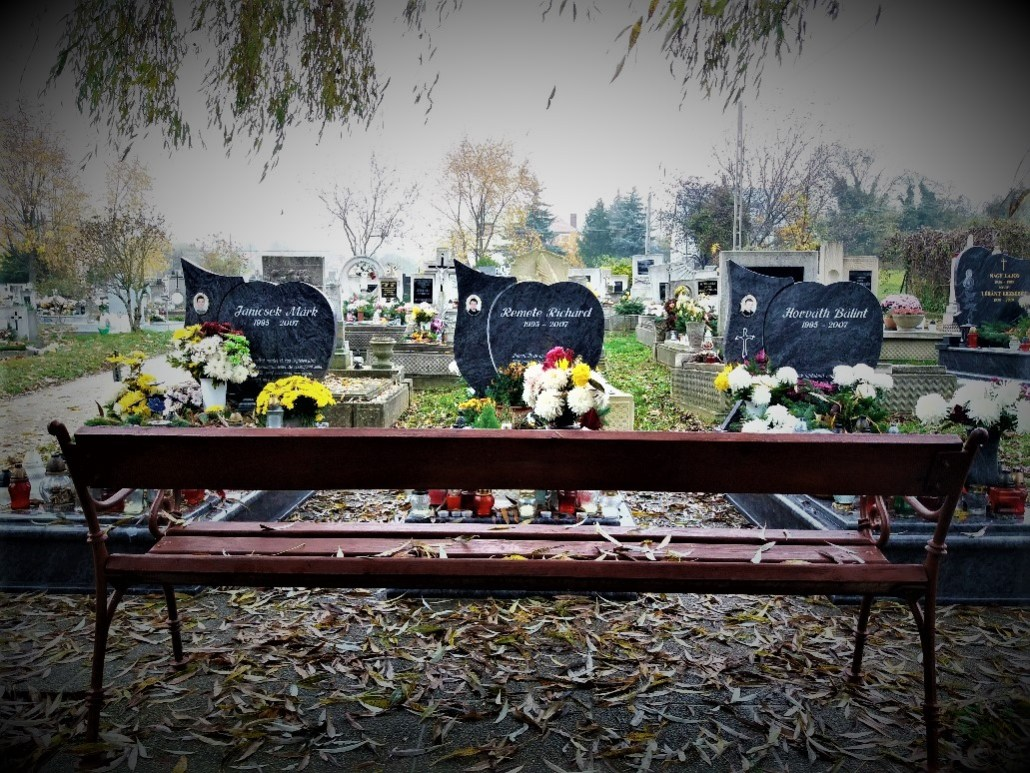 Graves of three young friends buried in Sümeg Cemetery Hungary