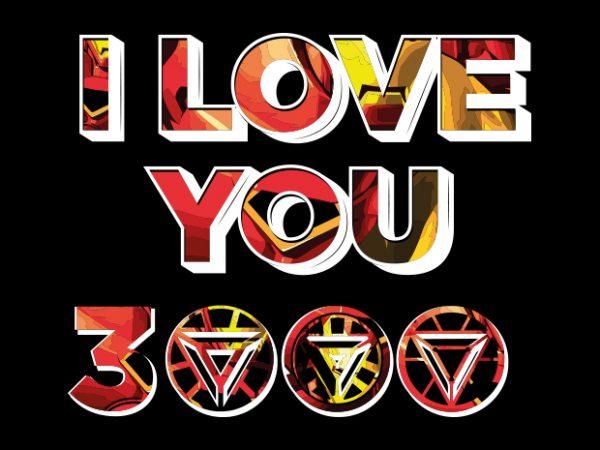 Download I love you 3000 Vector t-shirt design